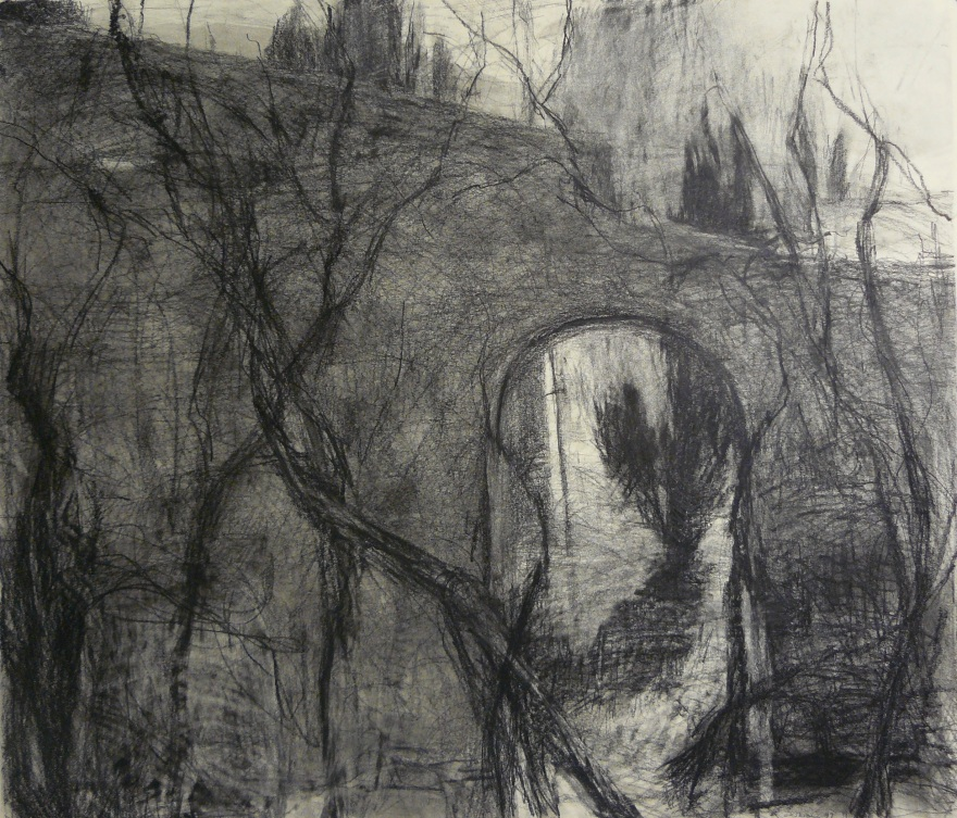 charcoal drawing of a wall and trees in Italy