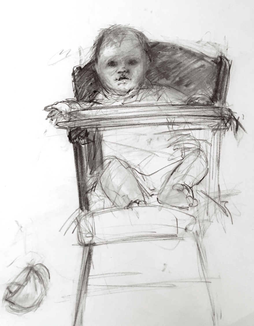 charcoal drawing of baby in high chair dropping cup