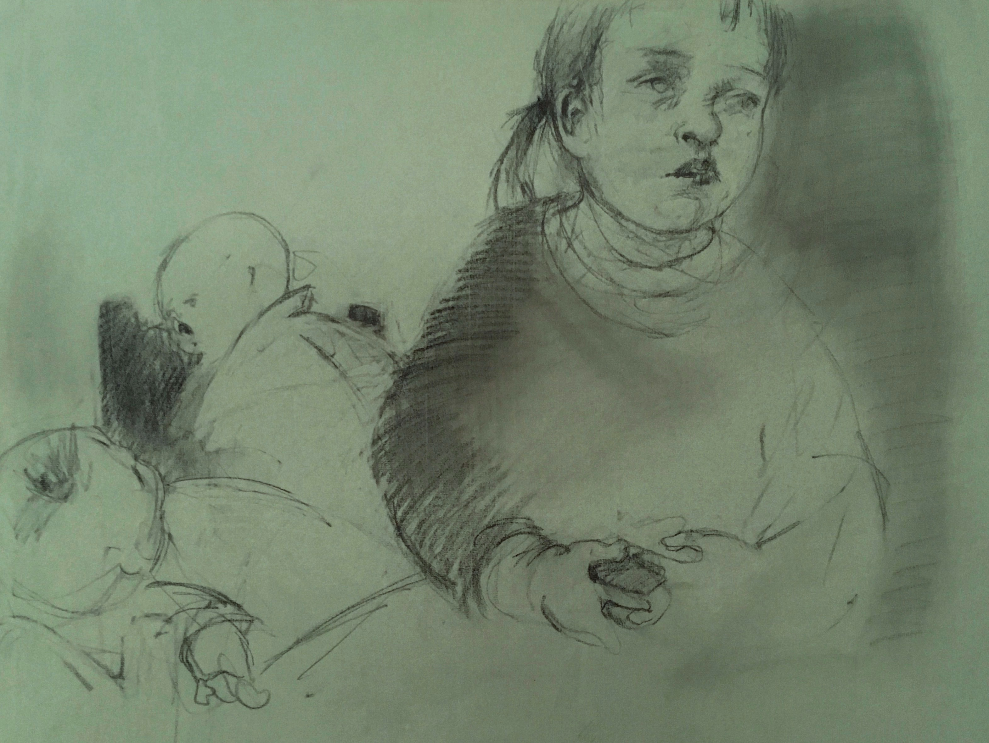 charcoal drawing of girl with her dolls