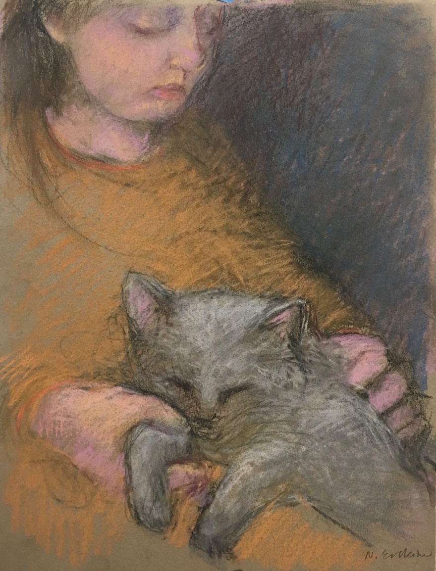 pastel drawing of girl wearing a rust colored sweater, holding a cat