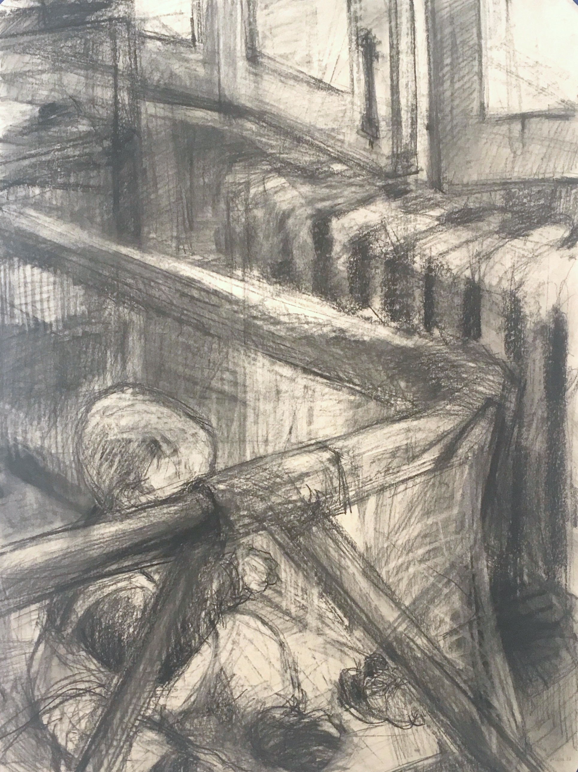 charcoal drawing of baby in playpen by window