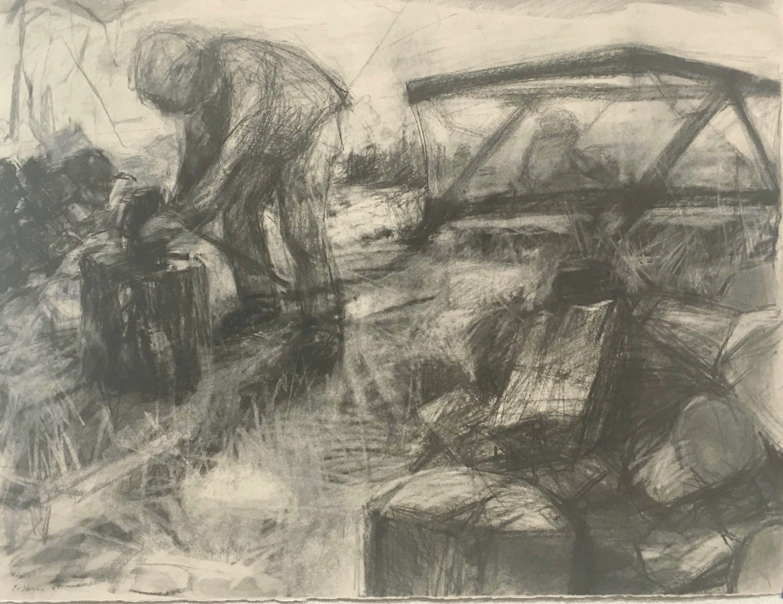drawing of dad chopping wood, with baby in a playpen