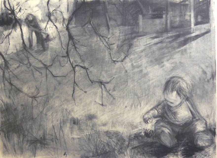 charcoal drawing of baby sitting in yard