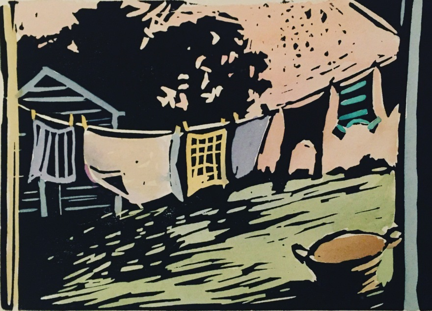 linocut print of wash on a line